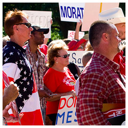 Crowd at a Hands Off Texas! rally