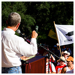 Commissioner Jerry Patterson speaking at a Hands Off Texas! rally