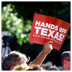 Hands Off Texas! rally sign
